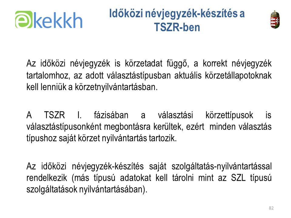 Értéket teremtünk a közigazgatásban 82 Időközi névjegyzék-készítés a TSZR-ben Az időközi névjegyzék is körzetadat függő, a korrekt névjegyzék tartalomhoz, az adott választástípusban aktuális körzetállapotoknak kell lenniük a körzetnyilvántartásban.