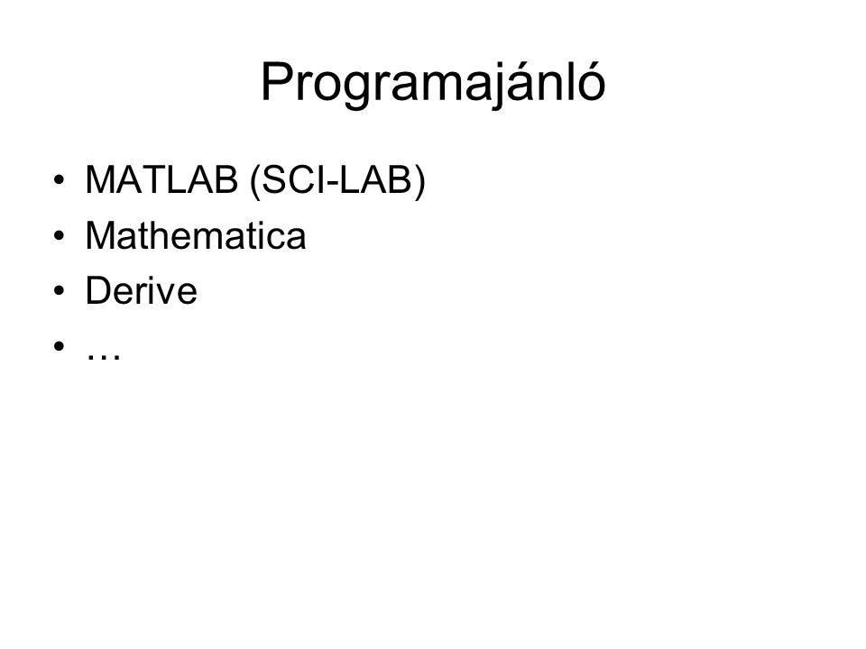 Programajánló •MATLAB (SCI-LAB) •Mathematica •Derive •…