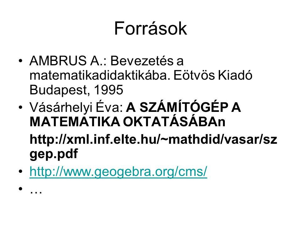 Források •AMBRUS A.: Bevezetés a matematikadidaktikába.