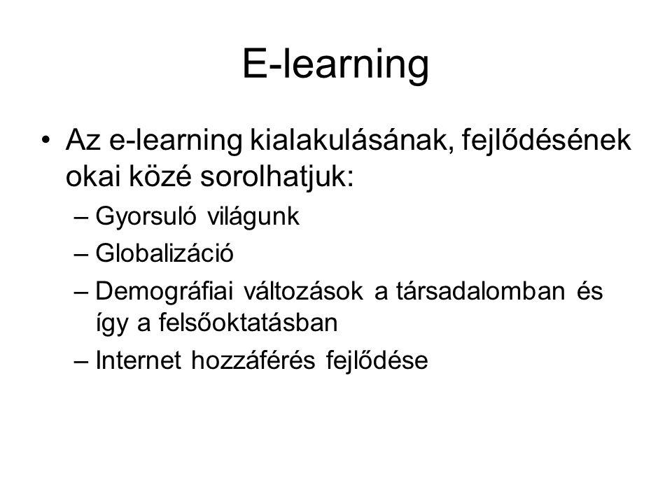 E-learning •Az e-learning kialakulásának, fejlődésének okai közé sorolhatjuk: –Gyorsuló világunk –Globalizáció –Demográfiai változások a társadalomban és így a felsőoktatásban –Internet hozzáférés fejlődése