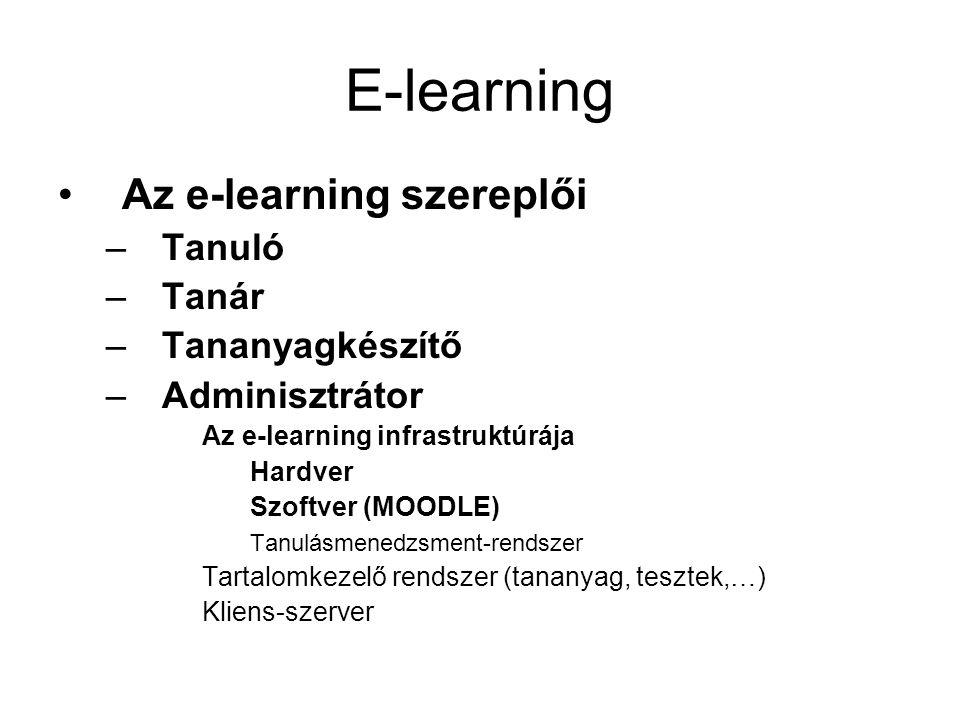 E-learning •Az e-learning szereplői –Tanuló –Tanár –Tananyagkészítő –Adminisztrátor Az e-learning infrastruktúrája Hardver Szoftver (MOODLE) Tanulásmenedzsment-rendszer Tartalomkezelő rendszer (tananyag, tesztek,…) Kliens-szerver