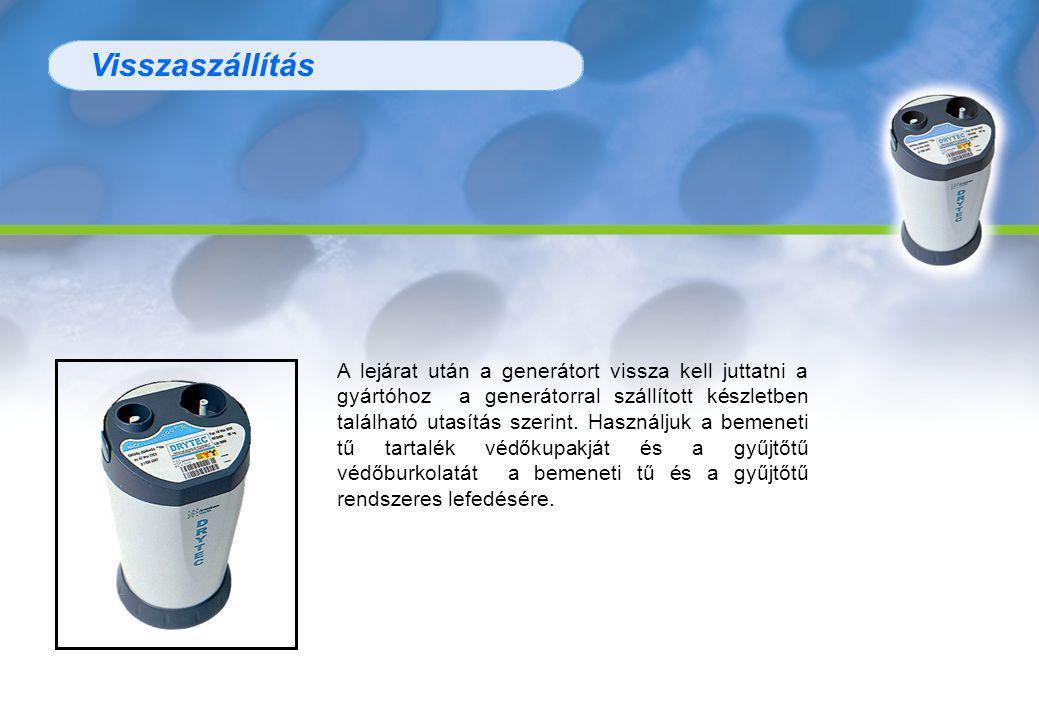 Visszaszállítás A lejárat után a generátort vissza kell juttatni a gyártóhoz a generátorral szállított készletben található utasítás szerint.