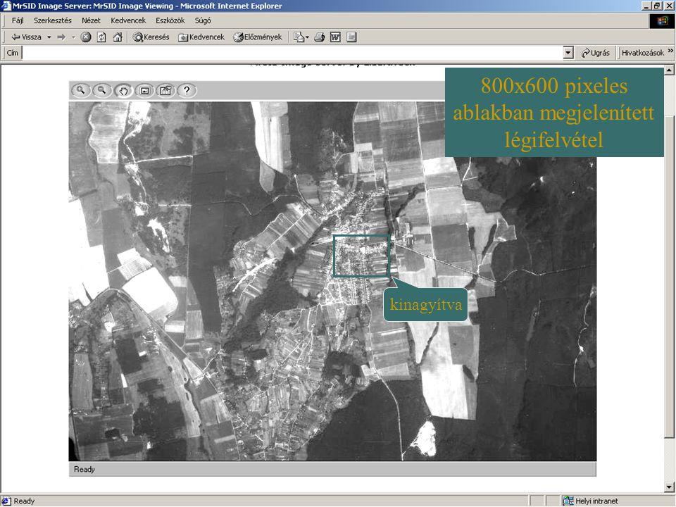 800x600 pixeles ablakban megjelenített légifelvétel kinagyítva