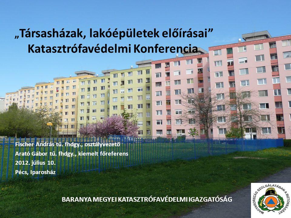 """"""" Társasházak, lakóépületek előírásai Katasztrófavédelmi Konferencia Fischer András tű."""