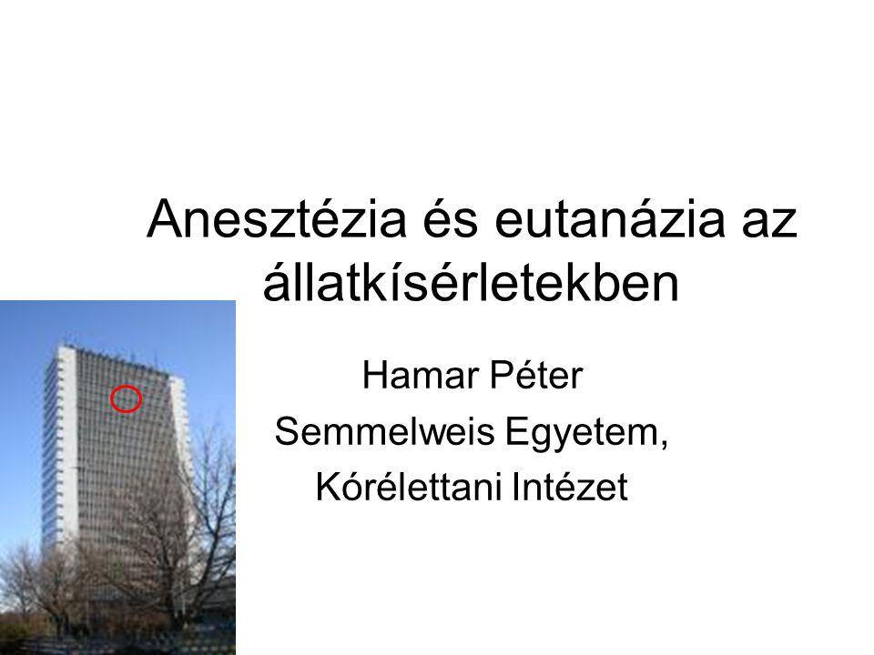 Anesztézia és eutanázia az állatkísérletekben Hamar Péter Semmelweis Egyetem, Kórélettani Intézet