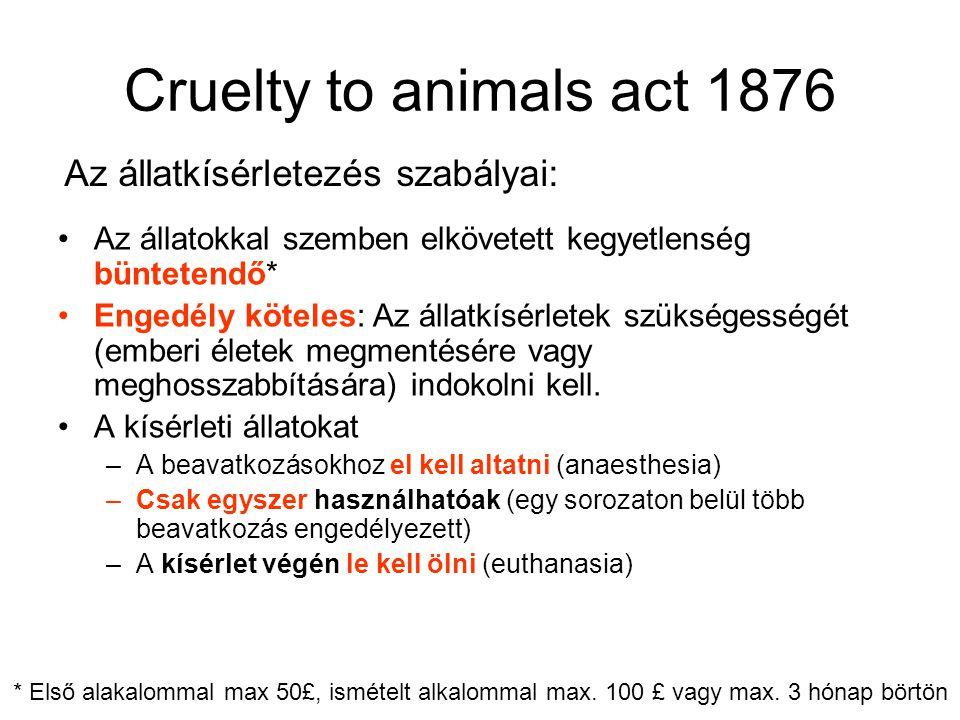 Cruelty to animals act 1876 •Az állatokkal szemben elkövetett kegyetlenség büntetendő* •Engedély köteles: Az állatkísérletek szükségességét (emberi életek megmentésére vagy meghosszabbítására) indokolni kell.