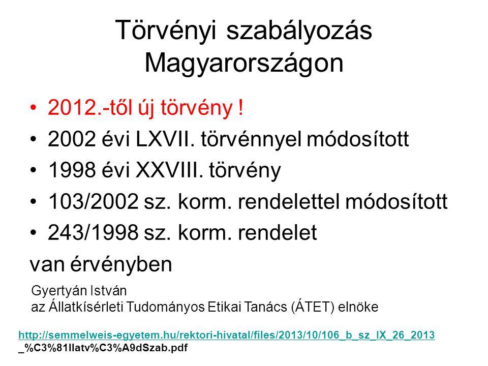 Törvényi szabályozás Magyarországon •2012.-től új törvény .