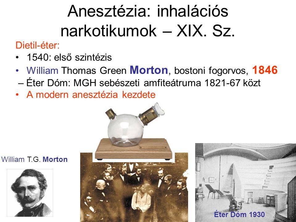 Anesztézia: inhalációs narkotikumok – XIX.Sz.