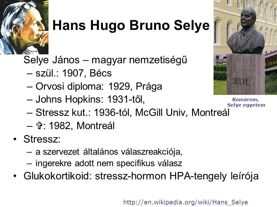 Hans Hugo Bruno Selye Selye János – magyar nemzetiségű –szül.: 1907, Bécs –Orvosi diploma: 1929, Prága –Johns Hopkins: 1931-től, –Stressz kut.: 1936-tól, McGill Univ, Montreál –  : 1982, Montreál •Stressz: –a szervezet általános válaszreakciója, –ingerekre adott nem specifikus válasz •Glukokortikoid: stressz-hormon HPA-tengely leírója http://en.wikipedia.org/wiki/Hans_Selye Komárom, Selye egyetem