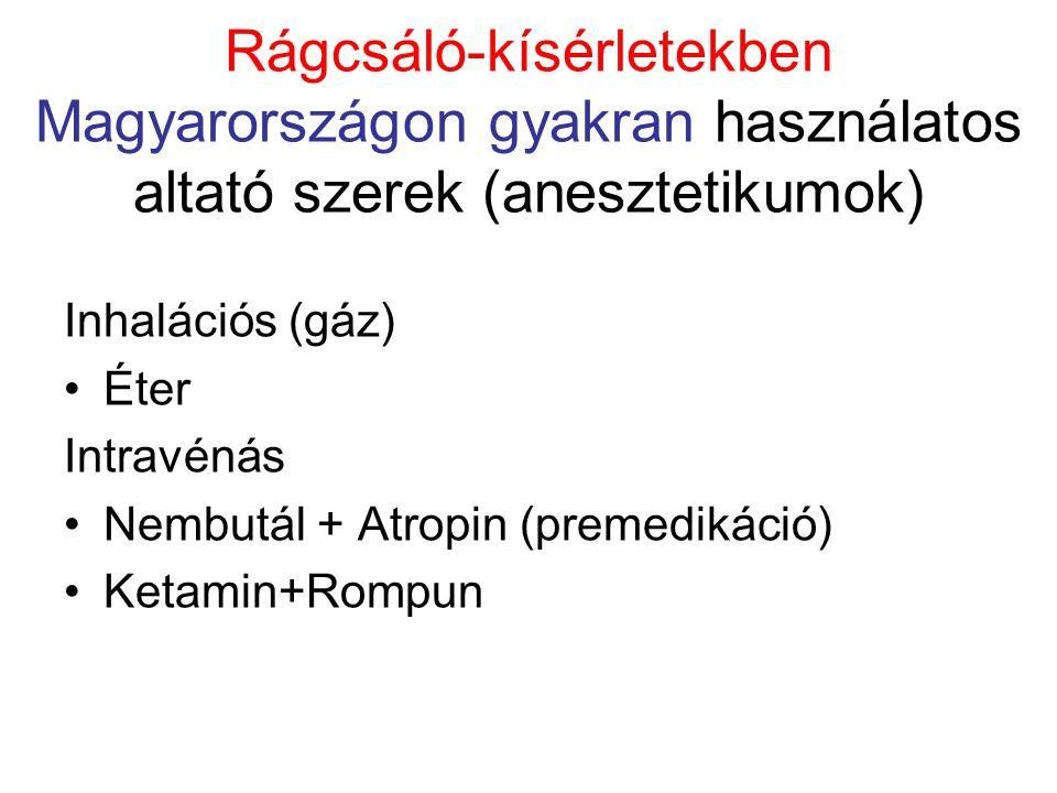 Rágcsáló-kísérletekben Magyarországon gyakran használatos altató szerek (anesztetikumok) Inhalációs (gáz) •Éter Intravénás •Nembutál + Atropin (premedikáció) •Ketamin+Rompun