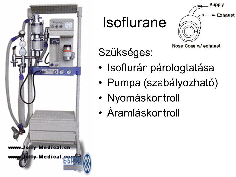 Isoflurane Szükséges: •Isoflurán párologtatása •Pumpa (szabályozható) •Nyomáskontroll •Áramláskontroll