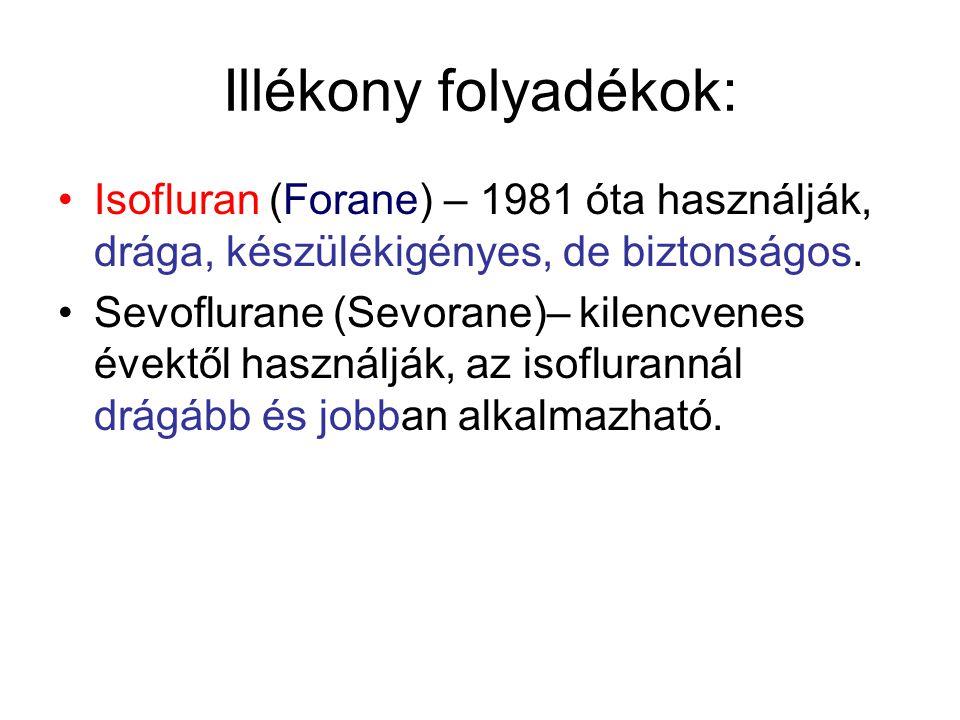 Illékony folyadékok: •Isofluran (Forane) – 1981 óta használják, drága, készülékigényes, de biztonságos.