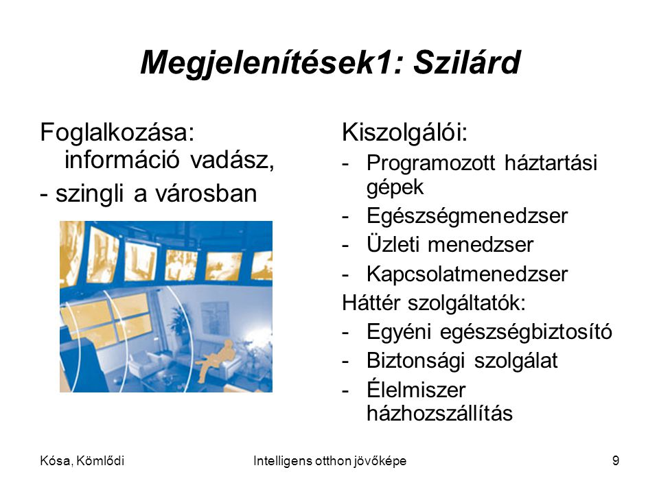 Kósa, KömlődiIntelligens otthon jövőképe9 Megjelenítések1: Szilárd Foglalkozása: információ vadász, - szingli a városban Kiszolgálói: -Programozott háztartási gépek -Egészségmenedzser -Üzleti menedzser -Kapcsolatmenedzser Háttér szolgáltatók: -Egyéni egészségbiztosító -Biztonsági szolgálat -Élelmiszer házhozszállítás