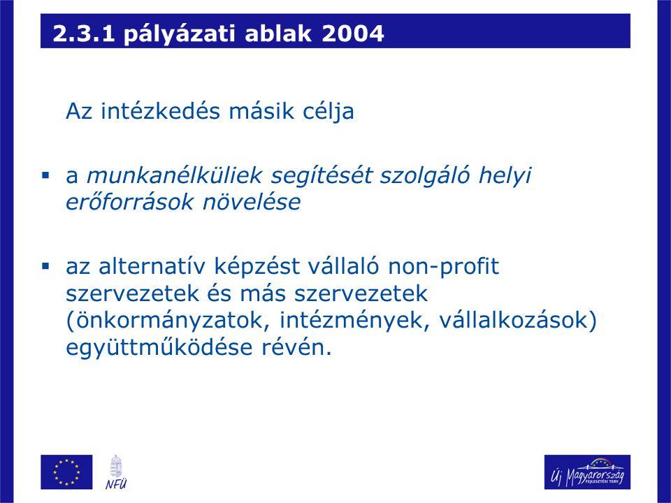 2.3.1 pályázati ablak 2004 Az intézkedés másik célja  a munkanélküliek segítését szolgáló helyi erőforrások növelése  az alternatív képzést vállaló non-profit szervezetek és más szervezetek (önkormányzatok, intézmények, vállalkozások) együttműködése révén.
