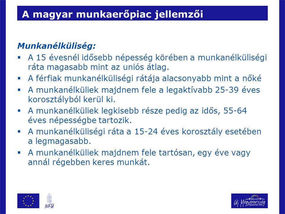 A magyar munkaerőpiac jellemzői Munkanélküliség:  A 15 évesnél idősebb népesség körében a munkanélküliségi ráta magasabb mint az uniós átlag.