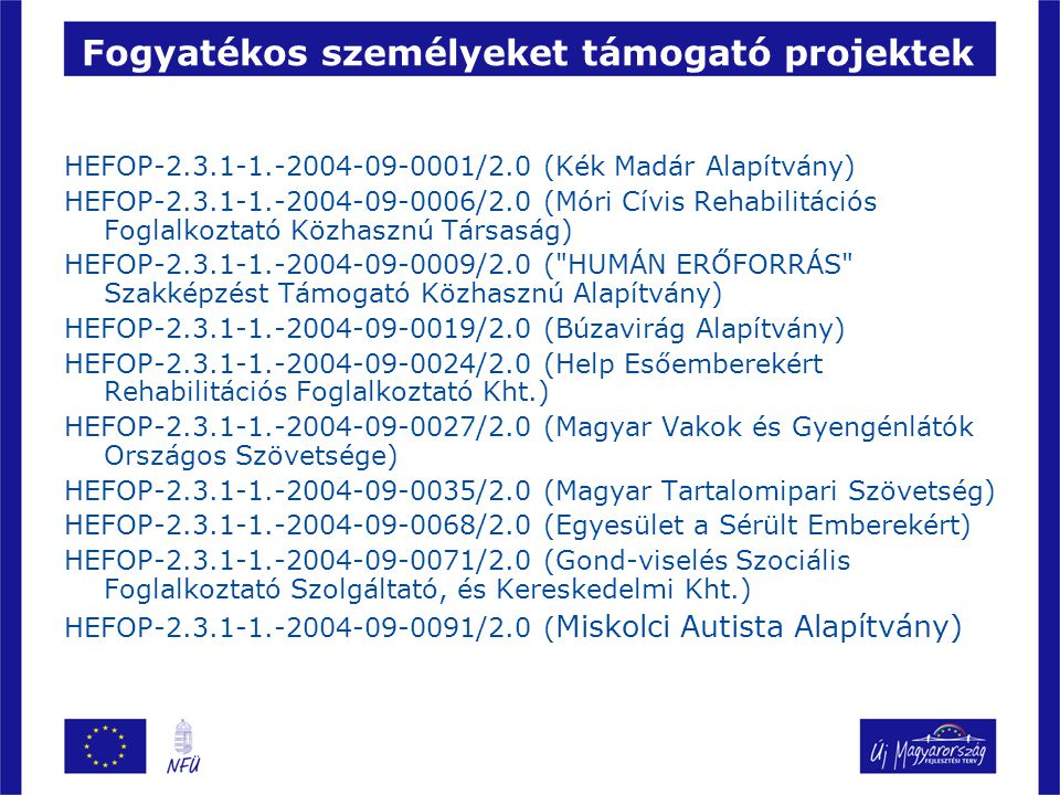 Fogyatékos személyeket támogató projektek HEFOP-2.3.1-1.-2004-09-0001/2.0 (Kék Madár Alapítvány) HEFOP-2.3.1-1.-2004-09-0006/2.0 (Móri Cívis Rehabilitációs Foglalkoztató Közhasznú Társaság) HEFOP-2.3.1-1.-2004-09-0009/2.0 ( HUMÁN ERŐFORRÁS Szakképzést Támogató Közhasznú Alapítvány) HEFOP-2.3.1-1.-2004-09-0019/2.0 (Búzavirág Alapítvány) HEFOP-2.3.1-1.-2004-09-0024/2.0 (Help Esőemberekért Rehabilitációs Foglalkoztató Kht.) HEFOP-2.3.1-1.-2004-09-0027/2.0 (Magyar Vakok és Gyengénlátók Országos Szövetsége) HEFOP-2.3.1-1.-2004-09-0035/2.0 (Magyar Tartalomipari Szövetség) HEFOP-2.3.1-1.-2004-09-0068/2.0 (Egyesület a Sérült Emberekért) HEFOP-2.3.1-1.-2004-09-0071/2.0 (Gond-viselés Szociális Foglalkoztató Szolgáltató, és Kereskedelmi Kht.) HEFOP-2.3.1-1.-2004-09-0091/2.0 ( Miskolci Autista Alapítvány)