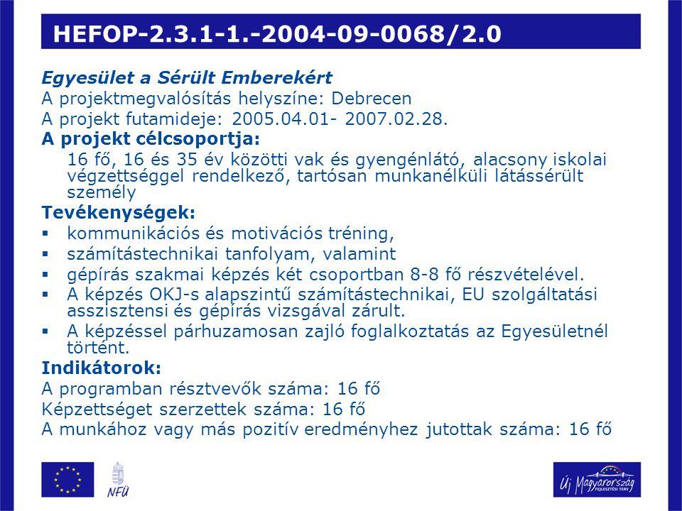 HEFOP-2.3.1-1.-2004-09-0068/2.0 Egyesület a Sérült Emberekért A projektmegvalósítás helyszíne: Debrecen A projekt futamideje: 2005.04.01- 2007.02.28.