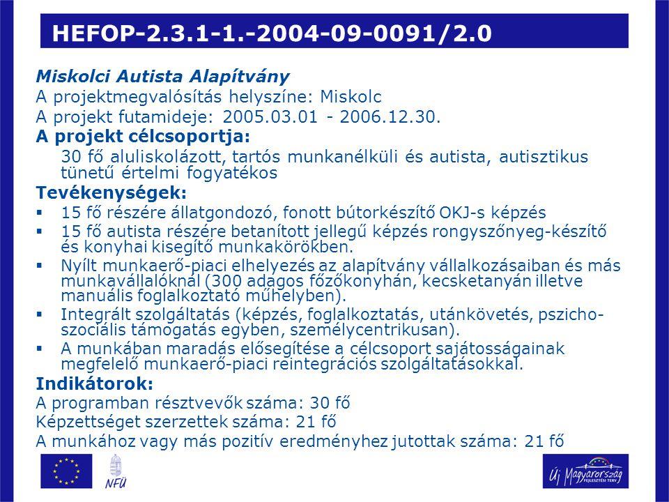 HEFOP-2.3.1-1.-2004-09-0091/2.0 Miskolci Autista Alapítvány A projektmegvalósítás helyszíne: Miskolc A projekt futamideje: 2005.03.01 - 2006.12.30.