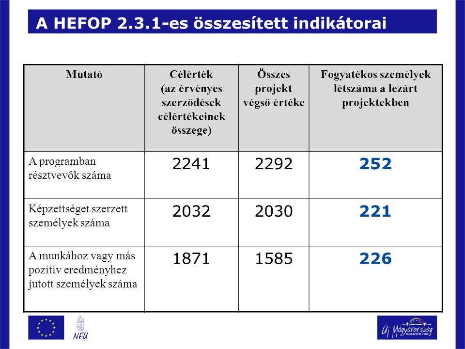 A HEFOP 2.3.1-es összesített indikátorai MutatóCélérték (az érvényes szerződések célértékeinek összege) Összes projekt végső értéke Fogyatékos személyek létszáma a lezárt projektekben A programban résztvevők száma 22412292252 Képzettséget szerzett személyek száma 20322030221 A munkához vagy más pozitív eredményhez jutott személyek száma 18711585226