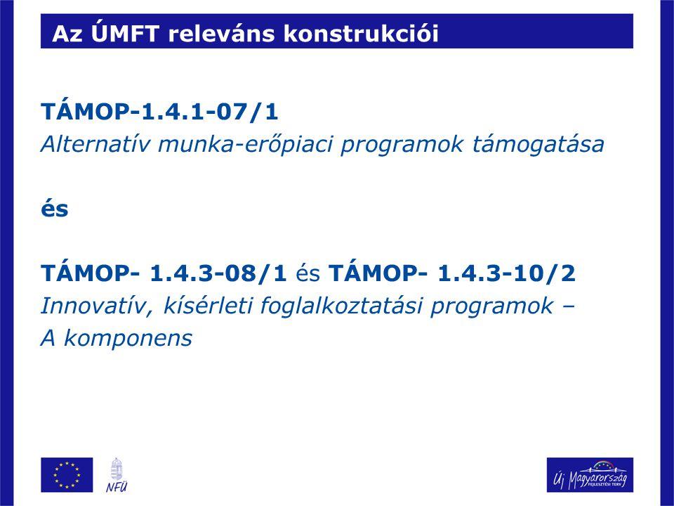 Az ÚMFT releváns konstrukciói TÁMOP-1.4.1-07/1 Alternatív munka-erőpiaci programok támogatása és TÁMOP- 1.4.3-08/1 és TÁMOP- 1.4.3-10/2 Innovatív, kísérleti foglalkoztatási programok – A komponens
