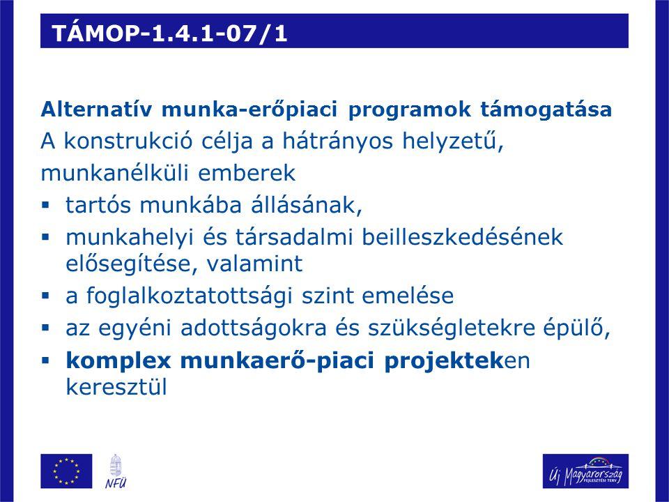 TÁMOP-1.4.1-07/1 Alternatív munka-erőpiaci programok támogatása A konstrukció célja a hátrányos helyzetű, munkanélküli emberek  tartós munkába állásának,  munkahelyi és társadalmi beilleszkedésének elősegítése, valamint  a foglalkoztatottsági szint emelése  az egyéni adottságokra és szükségletekre épülő,  komplex munkaerő-piaci projekteken keresztül