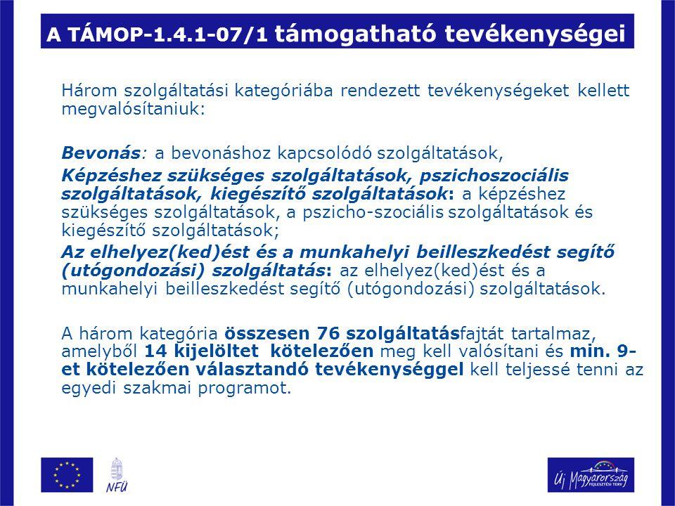 A TÁMOP-1.4.1-07/1 támogatható tevékenységei Három szolgáltatási kategóriába rendezett tevékenységeket kellett megvalósítaniuk: Bevonás: a bevonáshoz kapcsolódó szolgáltatások, Képzéshez szükséges szolgáltatások, pszichoszociális szolgáltatások, kiegészítő szolgáltatások: a képzéshez szükséges szolgáltatások, a pszicho-szociális szolgáltatások és kiegészítő szolgáltatások; Az elhelyez(ked)ést és a munkahelyi beilleszkedést segítő (utógondozási) szolgáltatás: az elhelyez(ked)ést és a munkahelyi beilleszkedést segítő (utógondozási) szolgáltatások.