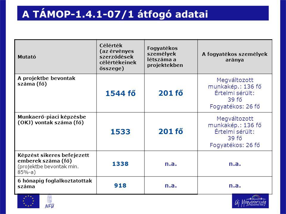 A TÁMOP-1.4.1-07/1 átfogó adatai Mutató Célérték (az érvényes szerződések célértékeinek összege) Fogyatékos személyek létszáma a projektekben A fogyatékos személyek aránya A projektbe bevontak száma (fő) 1544 fő201 fő Megváltozott munkakép.: 136 fő Értelmi sérült: 39 fő Fogyatékos: 26 fő Munkaerő-piaci képzésbe (OKJ) vontak száma (fő) 1533201 fő Megváltozott munkakép.: 136 fő Értelmi sérült: 39 fő Fogyatékos: 26 fő Képzést sikeres befejezett emberek száma (fő) (projektbe bevontak min.