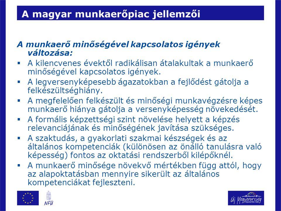 A magyar munkaerőpiac jellemzői A munkaerő minőségével kapcsolatos igények változása:  A kilencvenes évektől radikálisan átalakultak a munkaerő minőségével kapcsolatos igények.