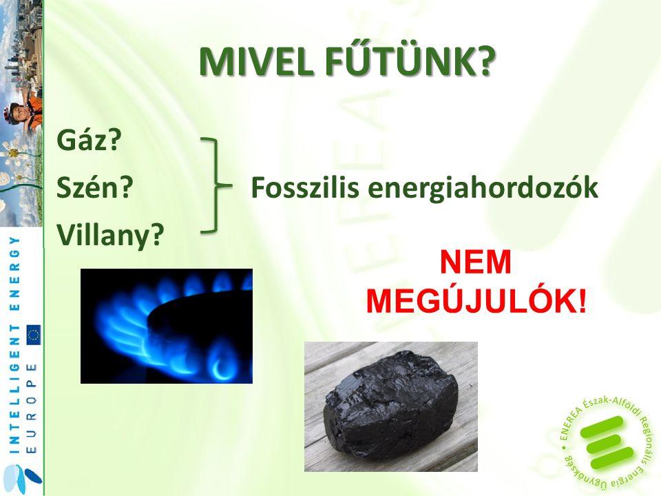 MIVEL FŰTÜNK Gáz Szén Fosszilis energiahordozók Villany NEM MEGÚJULÓK!