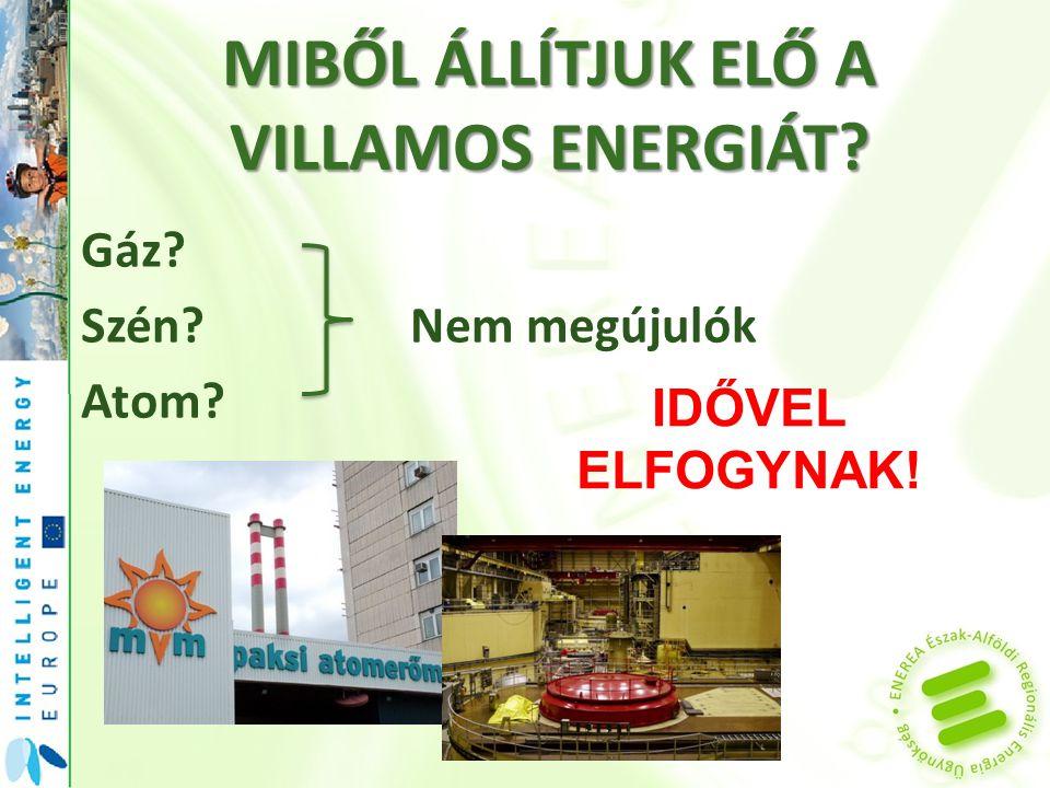 MIBŐL ÁLLÍTJUK ELŐ A VILLAMOS ENERGIÁT Gáz Szén Nem megújulók Atom IDŐVEL ELFOGYNAK!
