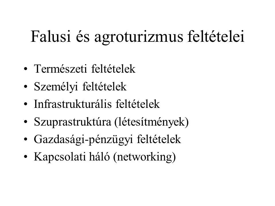 Falusi és agroturizmus feltételei •Természeti feltételek •Személyi feltételek •Infrastrukturális feltételek •Szuprastruktúra (létesítmények) •Gazdaság