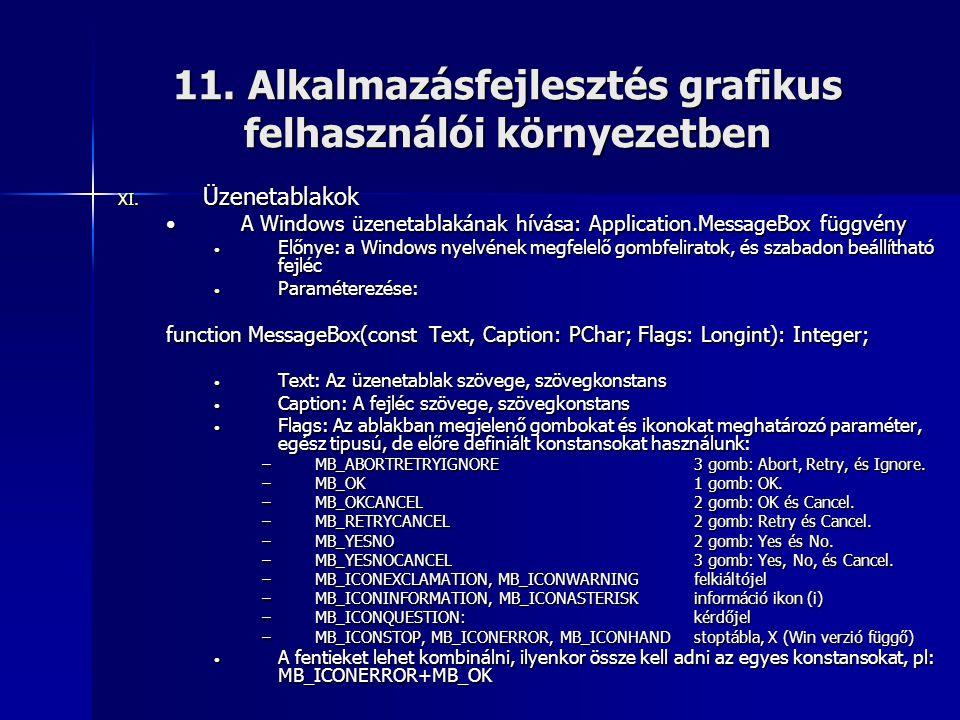 11. Alkalmazásfejlesztés grafikus felhasználói környezetben XI. Üzenetablakok •A Windows üzenetablakának hívása: Application.MessageBox függvény • Elő