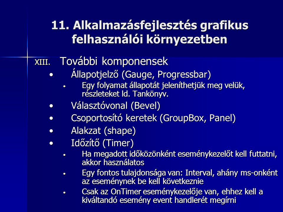 11. Alkalmazásfejlesztés grafikus felhasználói környezetben XIII. További komponensek •Állapotjelző (Gauge, Progressbar) • Egy folyamat állapotát jele