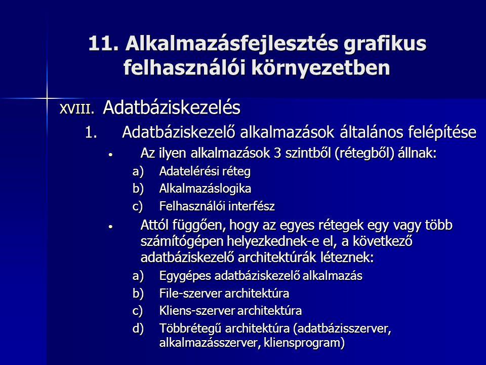 11. Alkalmazásfejlesztés grafikus felhasználói környezetben XVIII. Adatbáziskezelés 1.Adatbáziskezelő alkalmazások általános felépítése • Az ilyen alk
