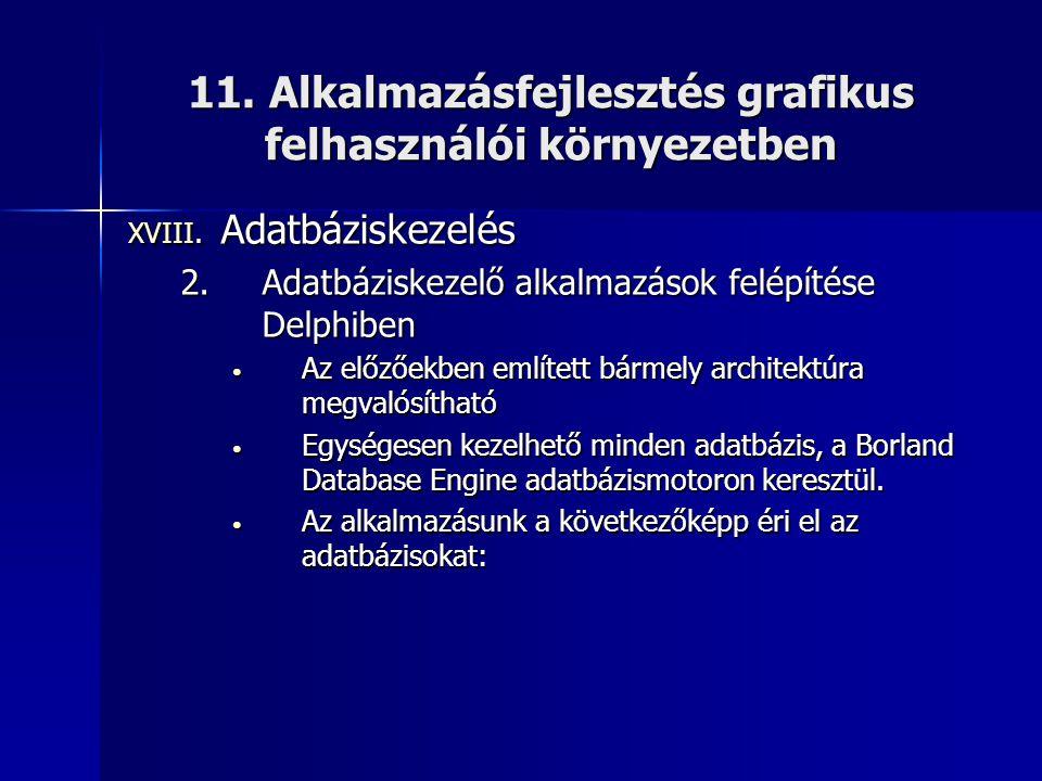 11. Alkalmazásfejlesztés grafikus felhasználói környezetben XVIII. Adatbáziskezelés 2.Adatbáziskezelő alkalmazások felépítése Delphiben • Az előzőekbe