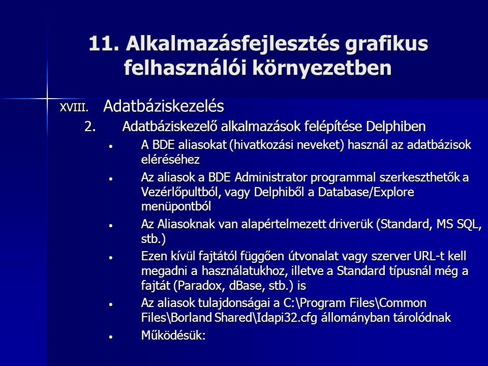 11. Alkalmazásfejlesztés grafikus felhasználói környezetben XVIII. Adatbáziskezelés 2.Adatbáziskezelő alkalmazások felépítése Delphiben • A BDE aliaso