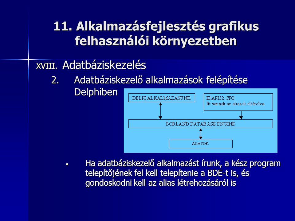 11. Alkalmazásfejlesztés grafikus felhasználói környezetben XVIII. Adatbáziskezelés 2.Adatbáziskezelő alkalmazások felépítése Delphiben • Ha adatbázis