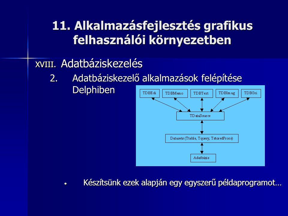 11. Alkalmazásfejlesztés grafikus felhasználói környezetben XVIII. Adatbáziskezelés 2.Adatbáziskezelő alkalmazások felépítése Delphiben • Készítsünk e