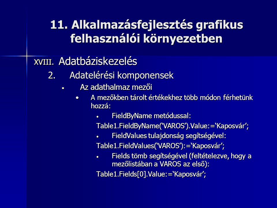11. Alkalmazásfejlesztés grafikus felhasználói környezetben XVIII. Adatbáziskezelés 2.Adatelérési komponensek • Az adathalmaz mezői •A mezőkben tárolt