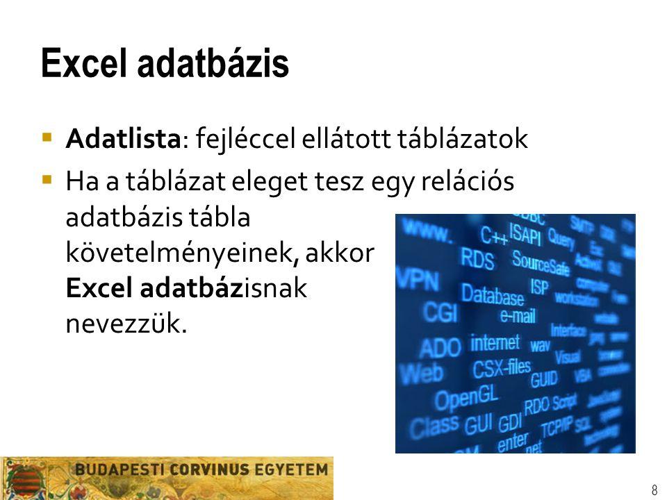 Excel adatbázis  Adatlista: fejléccel ellátott táblázatok  Ha a táblázat eleget tesz egy relációs adatbázis tábla követelményeinek, akkor Excel adat