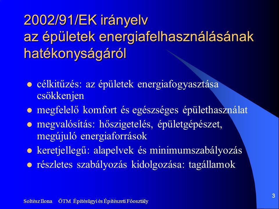 Soltész Ilona ÖTM Építésügyi és Építészeti Főosztály 3 2002/91/EK irányelv az épületek energiafelhasználásának hatékonyságáról  célkitűzés: az épületek energiafogyasztása csökkenjen  megfelelő komfort és egészséges épülethasználat  megvalósítás: hőszigetelés, épületgépészet, megújuló energiaforrások  keretjellegű: alapelvek és minimumszabályozás  részletes szabályozás kidolgozása: tagállamok