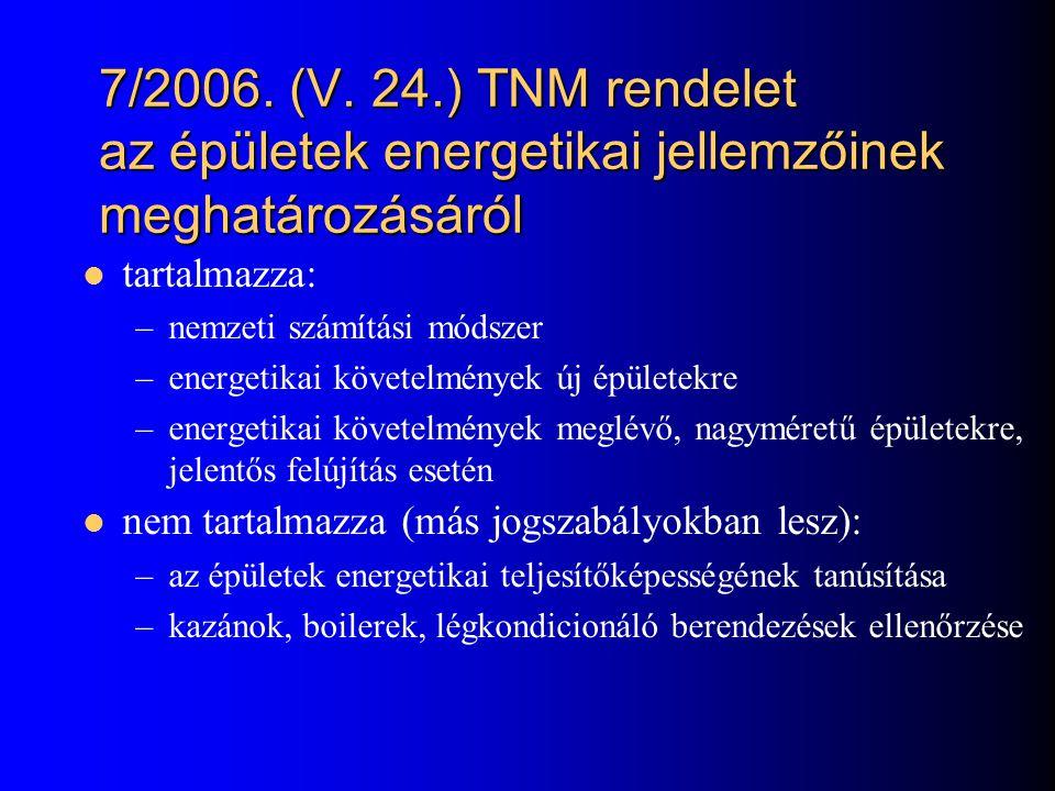 7/2006. (V. 24.) TNM rendelet az épületek energetikai jellemzőinek meghatározásáról  tartalmazza: –nemzeti számítási módszer –energetikai követelmény