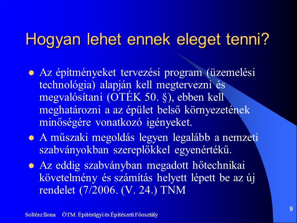 Soltész Ilona ÖTM Építésügyi és Építészeti Főosztály 9 Hogyan lehet ennek eleget tenni?  Az építményeket tervezési program (üzemelési technológia) al