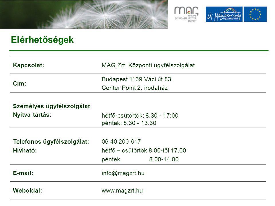 Kapcsolat:MAG Zrt.Központi ügyfélszolgálat Cím: Budapest 1139 Váci út 83.