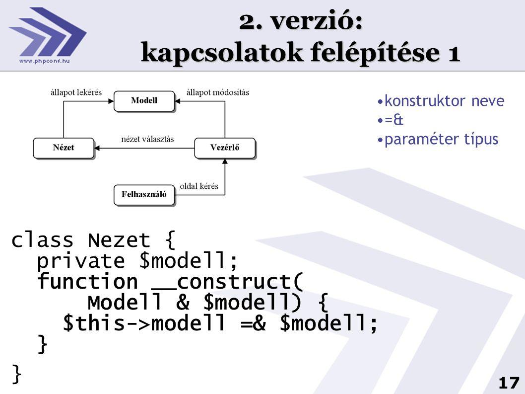 17 2. verzió: kapcsolatok felépítése 1 class Nezet { private $modell; function __construct( Modell & $modell) { $this->modell =& $modell; } } •konstru