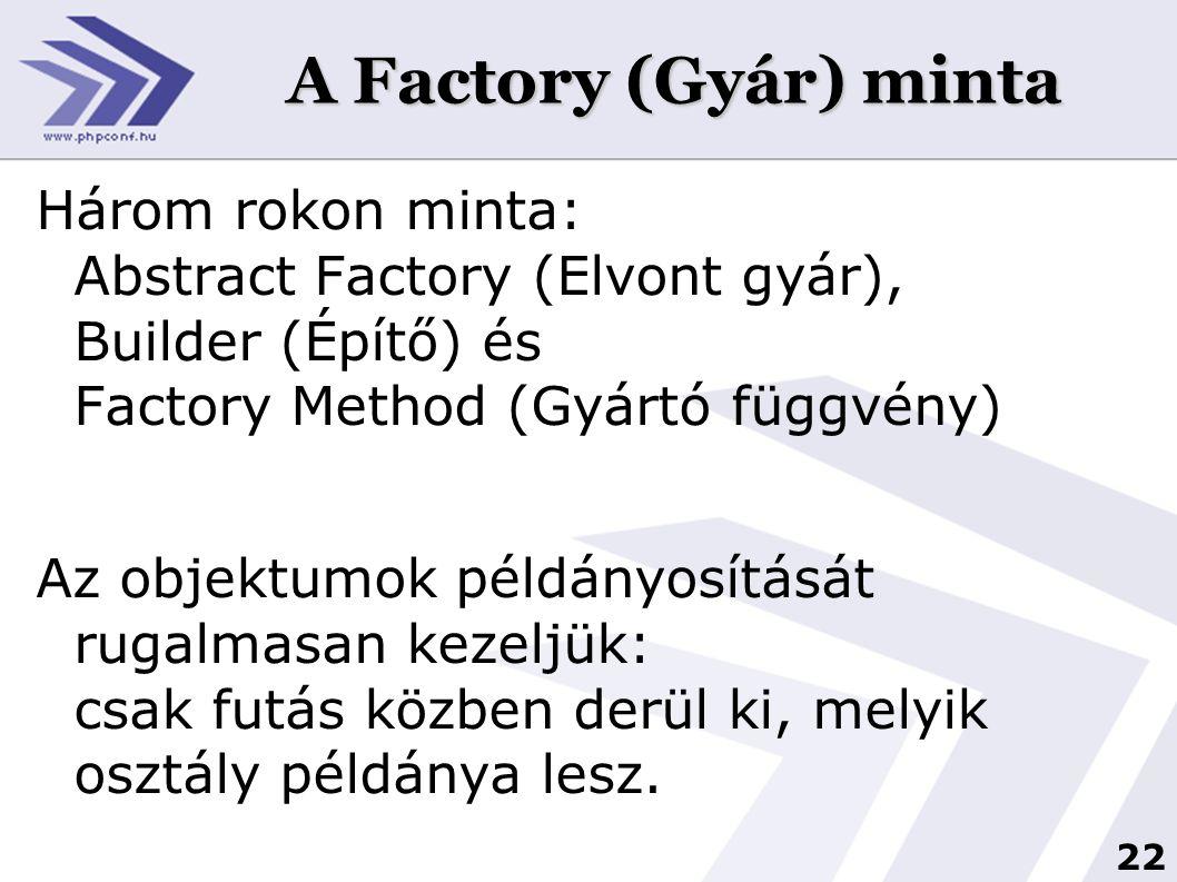 22 A Factory (Gyár) minta Három rokon minta: Abstract Factory (Elvont gyár), Builder (Építő) és Factory Method (Gyártó függvény) Az objektumok példány