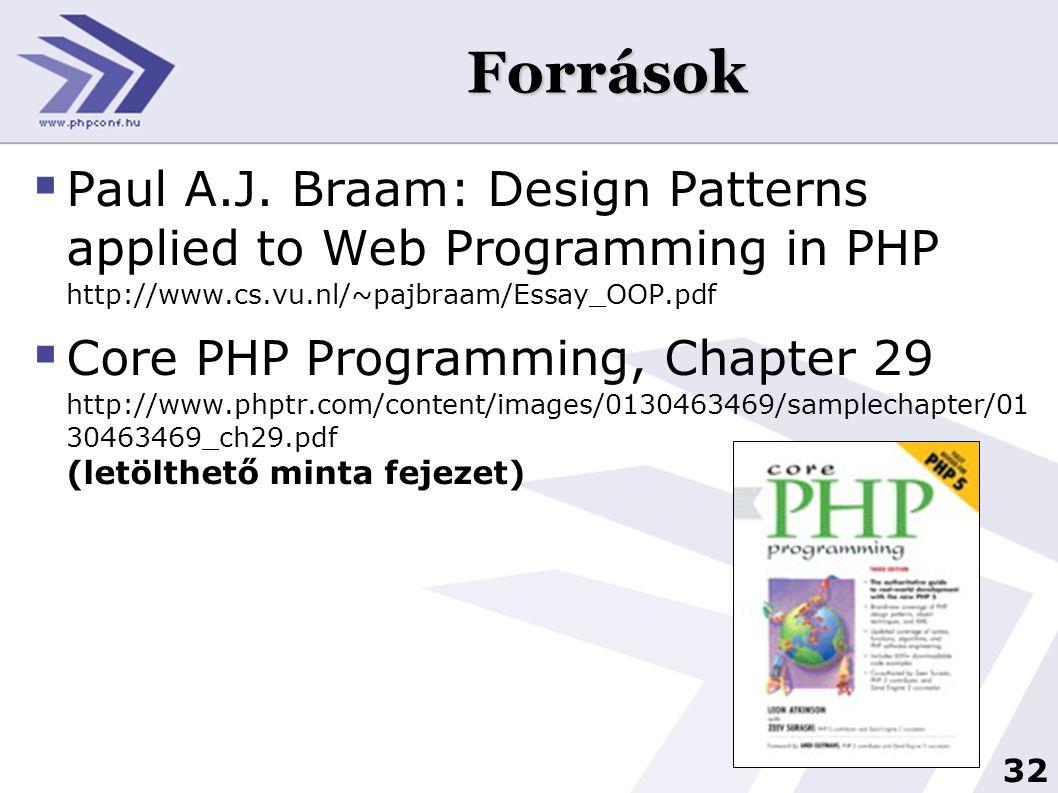 32 Források  Paul A.J. Braam: Design Patterns applied to Web Programming in PHP http://www.cs.vu.nl/~pajbraam/Essay_OOP.pdf  Core PHP Programming, C