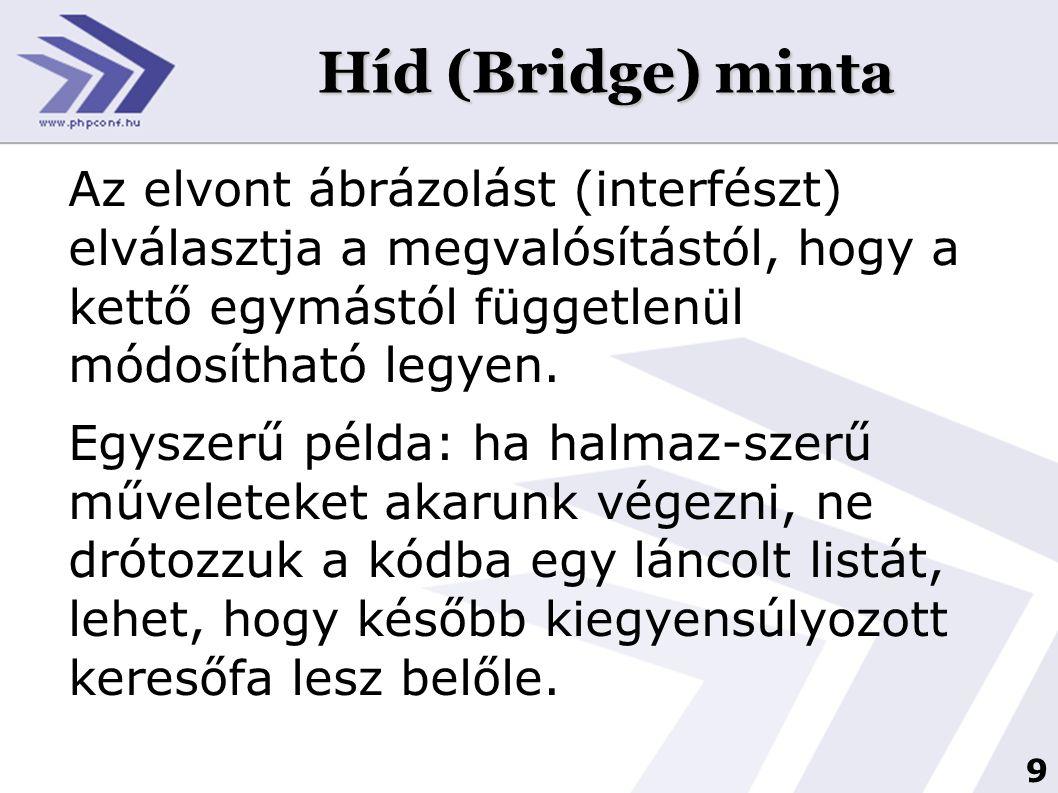 9 Híd (Bridge) minta Az elvont ábrázolást (interfészt) elválasztja a megvalósítástól, hogy a kettő egymástól függetlenül módosítható legyen. Egyszerű