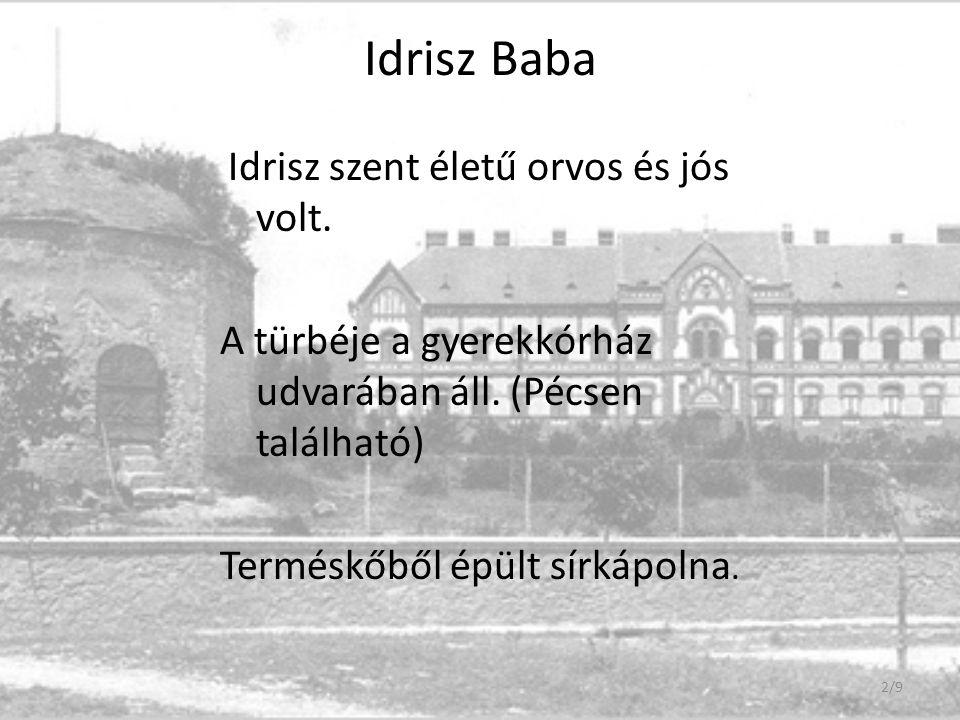 Idrisz Baba Idrisz szent életű orvos és jós volt. A türbéje a gyerekkórház udvarában áll. (Pécsen található) Terméskőből épült sírkápolna. 2/9