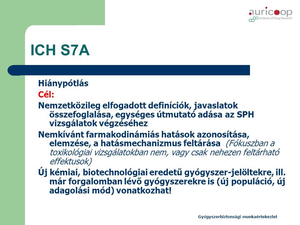 Gyógyszerbiztonsági munkaértekezlet ICH S7A Hiánypótlás Cél: Nemzetközileg elfogadott definíciók, javaslatok összefoglalása, egységes útmutató adása a